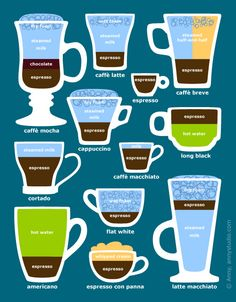 Espresso coffee drinks and beverages diagram, graphical guide with coffee cups and ingredients