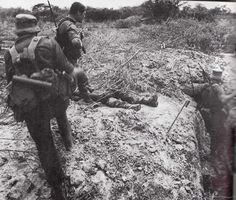 Trench clearing somewhere in Angola for SA soldiers.