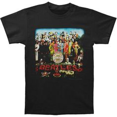 BEATLES Sgt Peppers T-shirt Rockabilia ($32) ❤ liked on Polyvore featuring tops, t-shirts, heart tee, logo tees, red tee, logo t shirts and heart t shirt