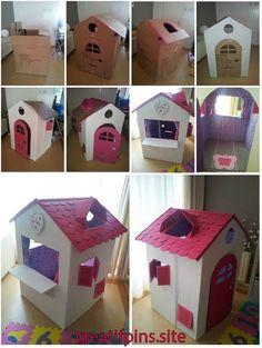 Cardboard houses for kids, cardboard playhouse, cardboard box crafts, toy h Cardboard Houses For Kids, Cardboard Crafts Kids, Diy Cardboard Furniture, Cardboard Playhouse, Diy Playhouse, Cardboard Toys, Cardboard Box Ideas For Kids, Barbie Furniture, Plywood Furniture