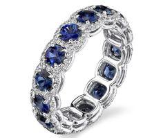 Blue Sapphire Diamond Halo/Platinum Wedding Band