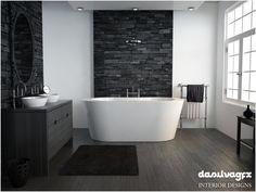 Bathroom ideas on pinterest bathroom plants stacked for Stacked stone bathroom ideas