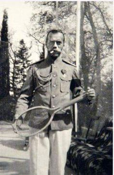 "Tsar Nicholas ll of Russia at tennis.  ""AL"""