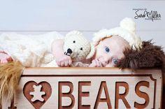 Bear Bonnet with Bear Prop - Photography Prop - Photo Prop (7.00 USD) by TayKnitCrochet