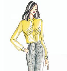 Marfy 2924. This tight-fitting blouse has a stand-up collar with small tear-drop neckline and is closed with a zipper.