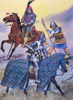 """• Aragonese light horseman, 1445 • Castilian peasant levy, 1445 • Don Alvaro de Luna, 1445"", Angus McBride"