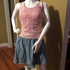 Pink lace tank and jean skirt Top is a size M from Maurice's and the skirt is a size M Lauren Conrad selling them as an outfit but will separate if you want Skirts