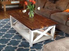 two tone coffee table farmhouse style X 2x4 industrial white wood top free plans tutorial ANA-WHITE.com