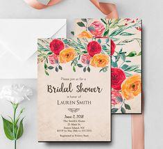 Rustic Floral Bridal Shower Invite Wedding Shower