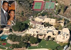 Will and Jada Pinkett-Smith Money was no object for the actors when it came to shelling out 20 million to renovate the Calabasas, Calif., castle they call home. Choice amenities at the Smith home? A lake, basketball courts and two par three golf holes in Celebrity Mansions, Celebrity Houses, Extravagant Homes, Dream Mansion, Mega Mansions, Hollywood Homes, Rich Home, D House, Expensive Houses