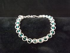 Double link Chainmaille Bracelet with Emerald by Naturezjewels, Chainmaille Bracelet, Swarovski Crystals, Emerald, My Etsy Shop, Link, Bracelets, Silver, Jewelry, Bangles