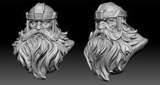by Wan Chao on ArtStation. Wood Carving Faces, Wood Carving Patterns, Character Sketches, Character Art, Character Design, Beard Sculpting, Viking Head, Sculpture Art, Sculptures