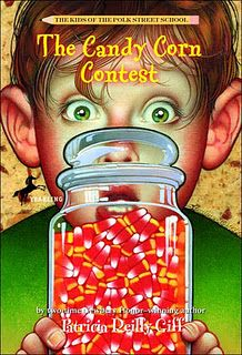 Book, The Candy Corn Contest; estimation. I used to read this book to my class every year around Thanksgiving!