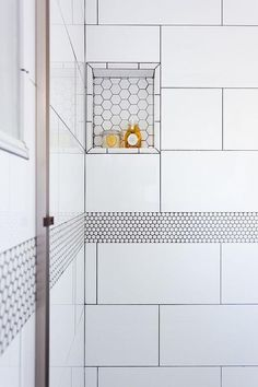 White Penny Shower Border Tiles with Gray Grout - Transitional - Bathroom Bathroom Border Tiles, Grey Grout Bathroom, White Tiles Grey Grout, White Tile Shower, White Subway Tile Bathroom, White Mosaic Tiles, Bathroom Floor Tiles, Master Bathroom, Master Shower