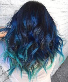 black hair with blue highlights