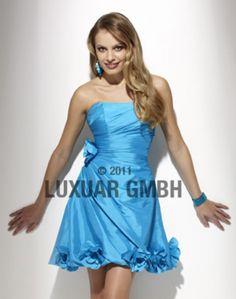 Kort blå kjole i taft med blomster 6685 ABELONE.NO One Shoulder, Shoulder Dress, Dresser, Formal Dresses, Fashion, Dresses For Formal, Moda, Powder Room, Formal Gowns