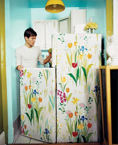 A wallpapered Fridge!! // See more images from Nick Olsen: Small Space Tricked Out! on domino.com
