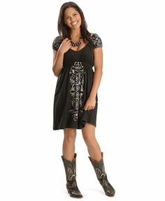 Country Western Clothing for Women. I really like this dress and boots combo. Country Fashion, Country Outfits, Western Outfits, Western Wear, Western Style, Country Chic, Casual Summer Dresses, Casual Dresses For Women, Cute Dresses