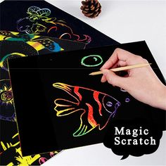 Kid Color Magnetic 10 Sheets Magic Scratch Art Painting Paper With Drawing Stick Kids Toy A# dropshipping Painted Books, Painted Paper, Paper Drawing, Paper Art, Painting For Kids, Art For Kids, Kratz Kunst, Easy Drawing Steps, Easy Drawings For Kids