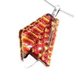 Rood oranje glas hanger voor aan een ketting.