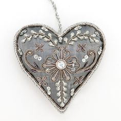 Beaded heart.  This would be so pretty using red wool felt.                                                                                                                                                                                 More