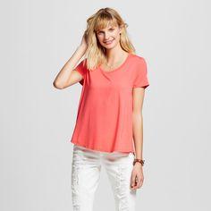 Women's Softest Scoop Tee Bright Coral S - Merona