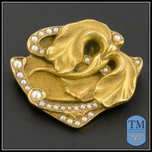 14k Gold Art Nouveau Stylized Iris Pin by Bippart & Co.