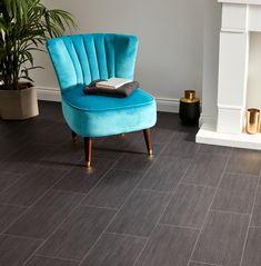 Want to make a statement? 😍 Our Colorado Midnight Tiles Vinyl does just that - harmonising a sleek appearance, practicality and affordability 💰 🛒 Order your Free Samples today #FlooringSuperstore #Flooring #FlooringTrends #WoodFlooring #EngineeredWood #Home #Interiors #Interior #Laminate #Vinyl #Lvt #Carpet #Carpets #InteriorDesign #Decor #Decorating #HomeDecor #Renovating #HomeSweetHome #Bedroom #LivingRoom #Kitchen Black Tiles, Vinyl Flooring, Tile Patterns, Engineered Wood, Tile Floor, Accent Chairs, Sweet Home, Living Room, Interior Design