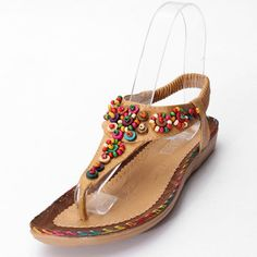 39405221653 Bohemia Flowers Diamond Beads Shape Splice Flat Summer Sandals is  comfortable to wear. Shop on NewChic to see other cheap women sandals on  sale.