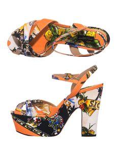 Dolce & Gabbana Siciliana Print Canvas Sandals in Multicolor (multi) | Lyst