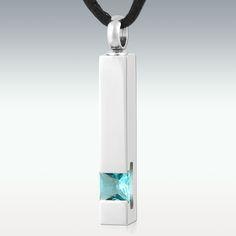 Leading Light Pillar Topaz Stainless Steel Cremation Jewelry