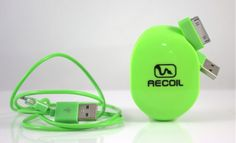 Green with cord organization envy. Goodbye tangled cords.  Recoil Automatic Cord Winders | HolyCool.net Cool Tech Gadgets, Cord Organization, Cable Management, Inventions, Usb Flash Drive, Technology, Electronics, Cords, Organizers