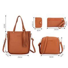 d1104d966a1 4pcs Women Leather Handbag Lady Shoulder Bags Tote Purse Messenger Satchel  Set