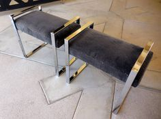 """A Handsome Pair of Charles Hollis Jones Chrome-Plated """"Boxline"""" Benches 