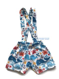 WHALE theme birthday outfit criss cross Suspender ONLY, Cake Smash Baby infant toddler boy accessories not included NAUTICAL Ahoy Baby Boys, Toddler Boys, Whale Birthday Parties, Baby Boy Suspenders, Back Strap, Infant, Rompers, Shorts, Trending Outfits