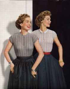 Sweaters and skirts, 1950s.