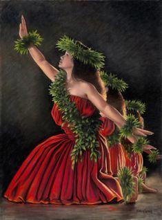 Hawaiian hula dancers by Kathy Long Polynesian Dance, Polynesian Culture, Polynesian People, Hawaiian Dancers, Hawaiian Art, Hawaiian Legends, Tahitian Dance, Aloha Hawaii, Hawaii Hula
