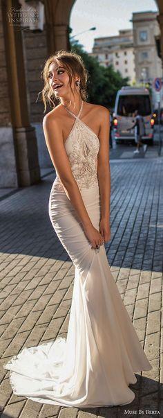 muse berta 2018 bridal sleeveless halter neck heavily embellished bodice elegant sheath fit and flare wedding dress sweep train (17) mv -- Muse by Berta 2018 Wedding Dresses
