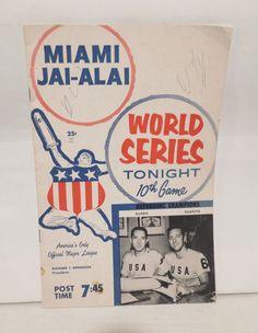 Vintage 1960 Miami Jai Alai World Series Program 10th Game | eBay