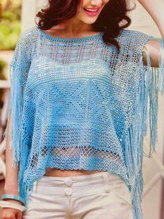 Tecendo Artes em Crochet: Blusa de Verão Linda e com Gráficos!