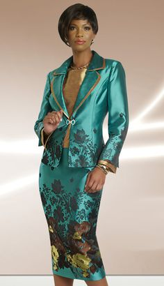 Style:CH23445Sizes:10 12 14 16 18 20 22Colors: Teal With Multi ( 3pc Silk Look Suit, Church Attire By Chancelle )