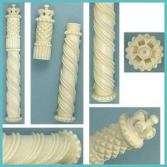 Lovely Antique Carved Ivory Bodkin / Needle Case * Circa 1790