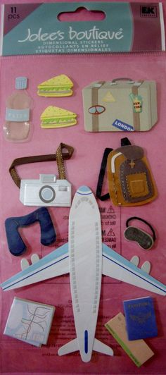 11 Pc Plane Trip Luggage Passport Camera Map Airplane Jolee'S 3D Stickers