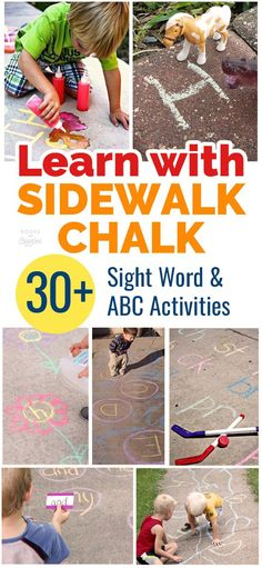 Sidewalk chalk games and activities for practicing ABC's, letter sounds, sight words and more. Easy kids activities for summer!