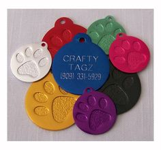 PET TAGS PAW PRINT ENGRAVED FOR DOG OR CAT CUSTOM ENGRAVED CIRCLE CHARM TAG Pet Needs -- New and awesome cat product awaits you, Read it now  : Cat accessories
