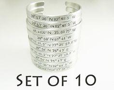 Coordinate Bracelets Set of 10 Hand Stamped Latitude Longitude Bracelet Personalized Aluminum Cuff Bulk