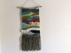 Free Weaving Wall Hanging Fiber Art on Drift Wood Dowel Waves Green Blue Wool Roving Silk Yarn