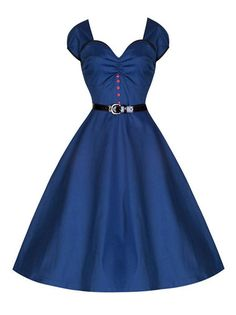 V-Shaped Ruched Neckline Single-Breasted A Line Party Dress Blue Dresses on buytrends.com