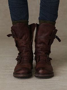 strappy brown leather boots with buckles - Rayna wrap boot