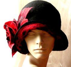 cb5f36318b3 Black Felt Hat Felted hat Cloche 1920s hat Retro hat Flapper Victorian  1920 s Felt hat Art hat Unique hat for woman Wool Merinowool